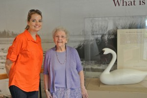 Katie meets Madelyn Shank, daughter of well-known carver R. Madison Mitchell, at the Decoy Museum
