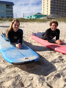 Surfing at Tony Silvagni School in Carolina Beach