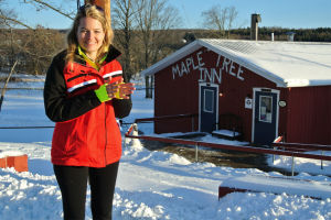 Katie enjoys a maple tour in New York State