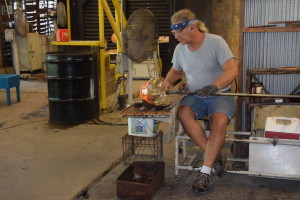 Glassblower at work at the historic Blenko Glass